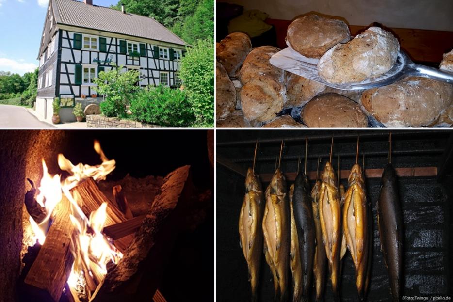 Frisch gebackene Brote und geräucherte Forellen